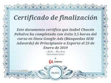 Certificado de Google Adwords