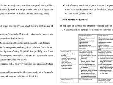 SWOT Analysis and TOWS Matrix of Ryanair.