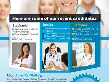"Flyer for Staffing company ""Hired On"""