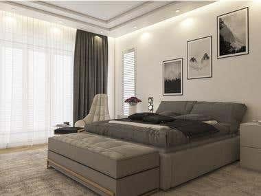 Modern bedroom - render practicing