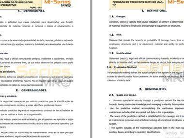 Sample Spanish to English Technical Translation