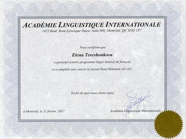 Certificate in French
