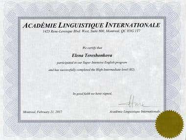 Certificate in English