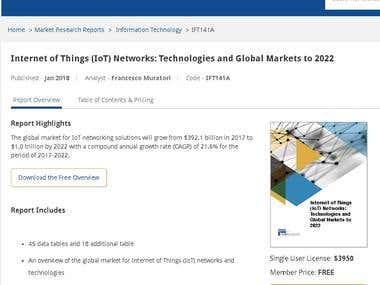 Market Research on IoT Networks