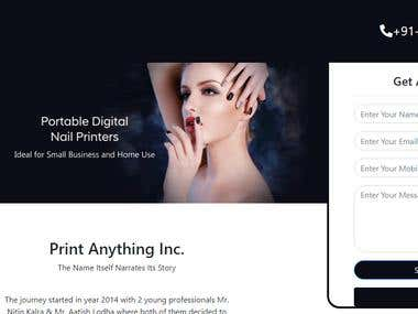 Print Anything Company Landing Page