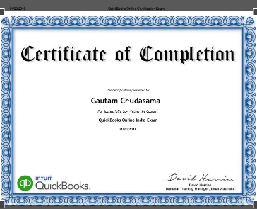 QuickBooks Online - Certificate of Completion