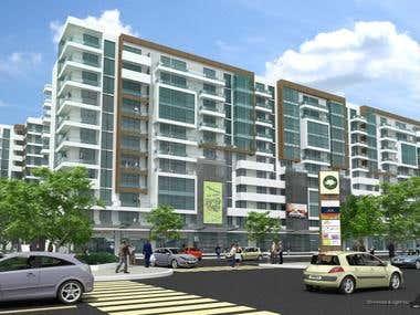 Apartment building + Office - EXTERIOR renderings