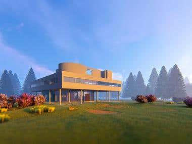 Villa Savoye 3d rendering