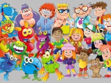 characters, cartoons, illustrations, vector