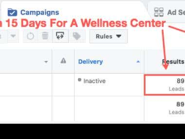 89 Leads In 15 Days For A Wellness Center