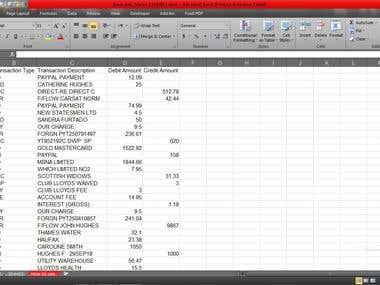 Excel macro for sorting Banking data