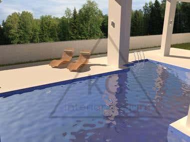 Outdoor pool 3D rander