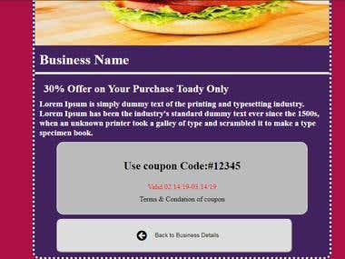 Coupon Page Design