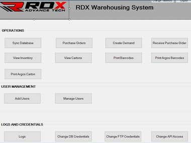 Warehousing system for RDX Sports