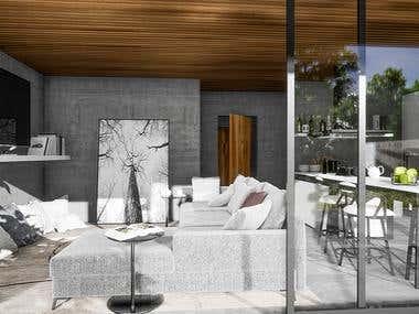 Living room in modern luxury white house ( villa ).