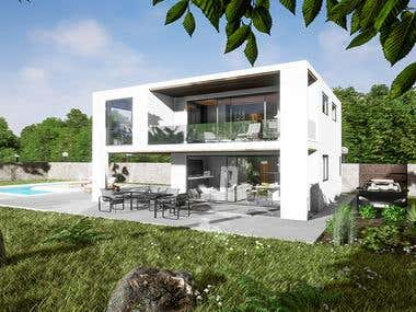 Exterior and garden of beautiful modern white villa.