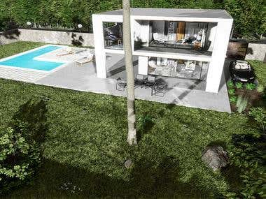 Top view of exterior and garden of modern white villa