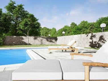 Relax place with swimming pool and garden (environment).