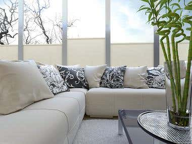 Luxury light living room with big leather comfortable sofa .