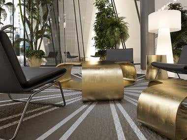 Luxurious relaxing seating in a large hall in modern style .