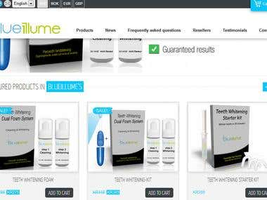 Blue illume Ecommerce site