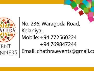"""Business Card Designed for the """"Chathra Event Planners"""""""