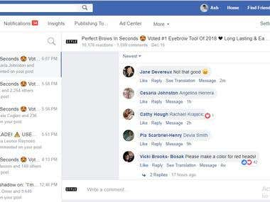facebook comment's monitoring