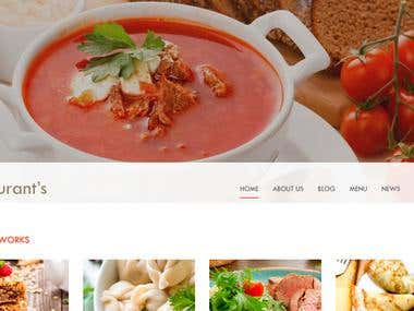 A web design for a restaurant