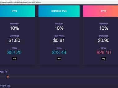 Web Page Design, Price Slider