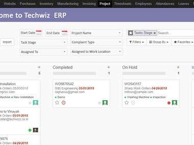 Odoo11 customization required for service module