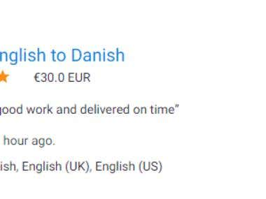 English to Danish translation