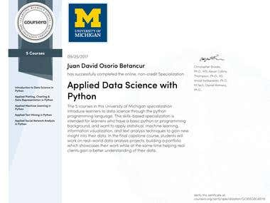 Specialization: Applied Data Science with Python