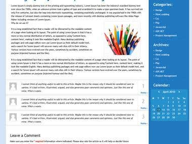 Front page for blog