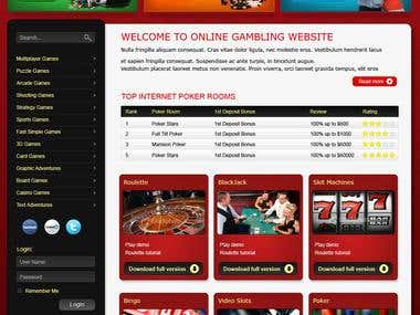 Front page for online casino