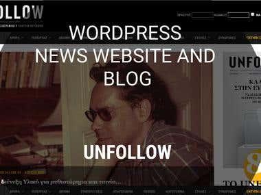 WordPress news website - unfollow