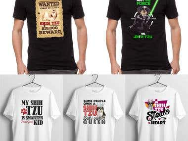T-shirt designs for Shih TZU
