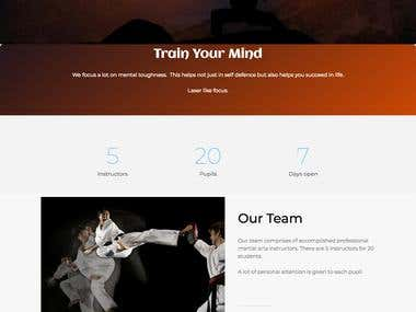 Responsive website for martial arts coaching