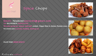 Business Card for Spice chops comapny