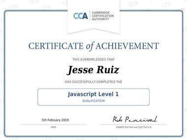 Javascript Level 1 Certification