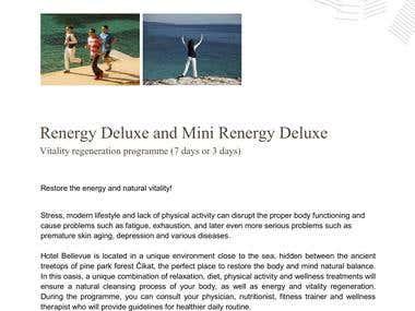 Travel Product Descriptions / Health, Wellness, Hospitality