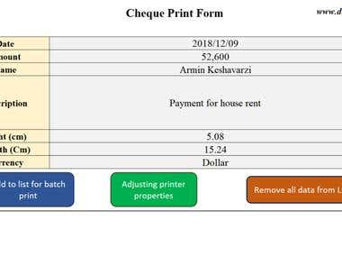 Print Cheque using Microsoft Excel