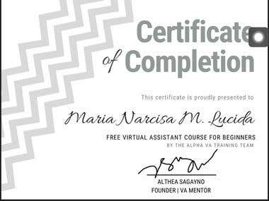 Virtual Assistant Course Certificate
