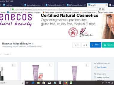 Beauty Product Entry in online shopping site.