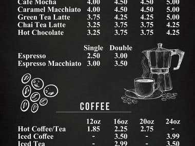 Menu For Epresso Drinks