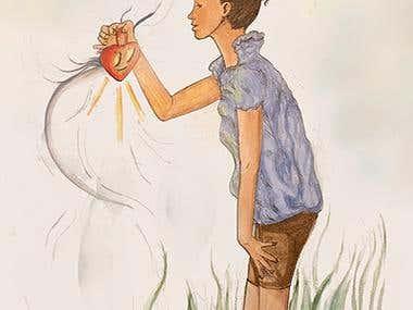 """ilustración """"mirando el corazón"""""""