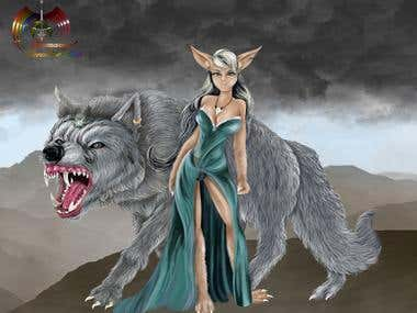Vampire Girl with big wolf