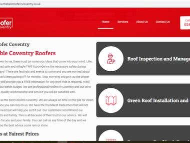 Website content for Roofing (Home page)