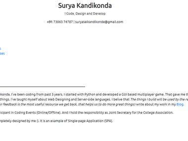 Personal Website - Surya Kandikonda