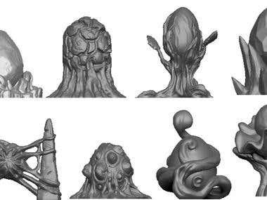 3D eggs based on employer's concept art for 3D printing