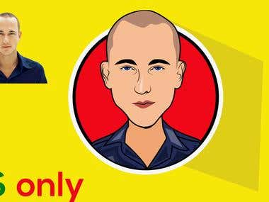 I will draw caricature icon cartoon portrait with vectorBody